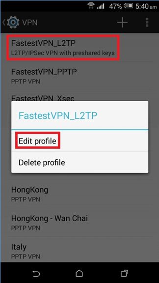 Edit VPN Profile in Android