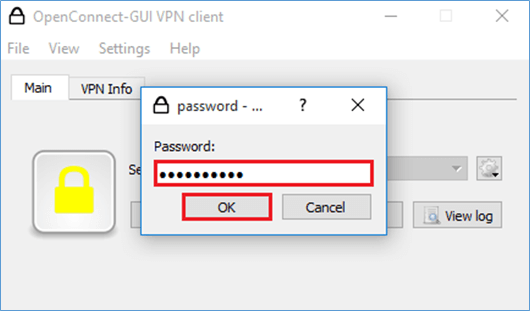 OpenConnect GUI Password