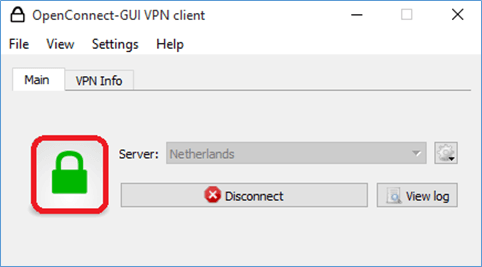 OpenConnect GUI Client Connected