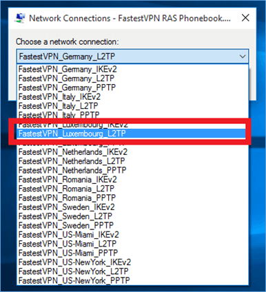 Select FastestVPN L2TP Server