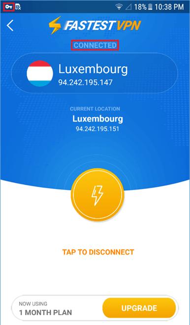 FastestVPN App Connected