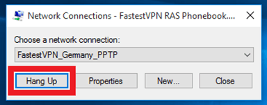 Disconnect PPTP Protocol in Windows