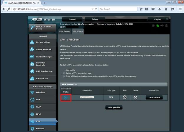 Asus PPTP VPN Setup