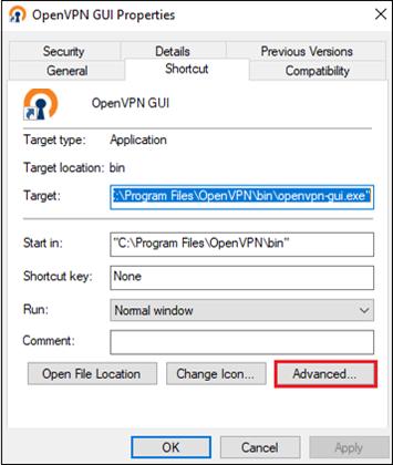 OpenVPN GUI propertie advanced tab