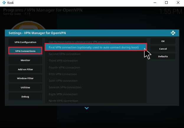 Kodi openelec Open VPN