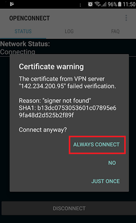 OpenConnect Android Setup