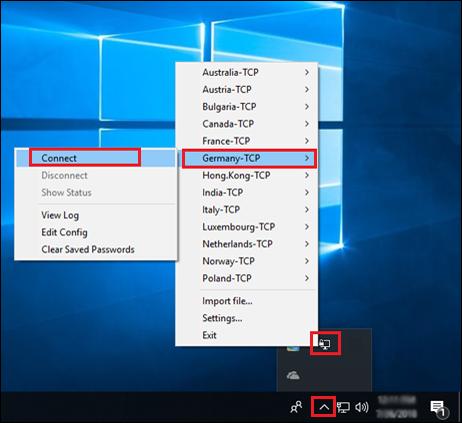 OpenVPN GUI in system tray