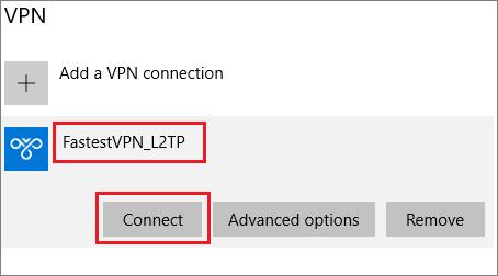 Setup FastestVPN L2TP on Windows 10 via built-in VPN Setting